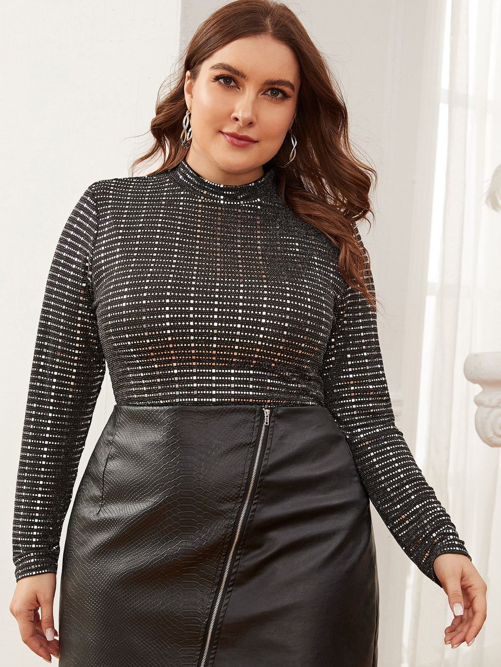 Plus Size Silver Mock-neck Sequin Top