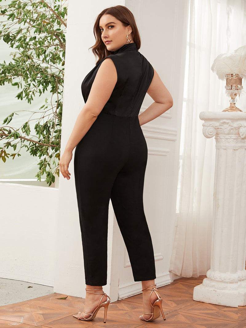 Plus Size Crinkle Front Satin Bodice Solid Jumpsuit