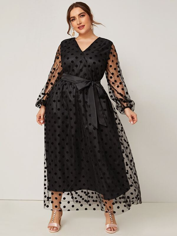 Plus Size Lantern Sleeve Polka Dot Sheer Mesh Dress With Belt