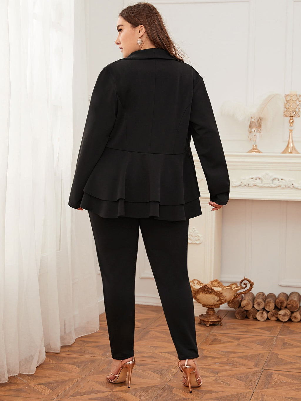 Plus Size Shawl Collar Peplum Blazer & Pants Set