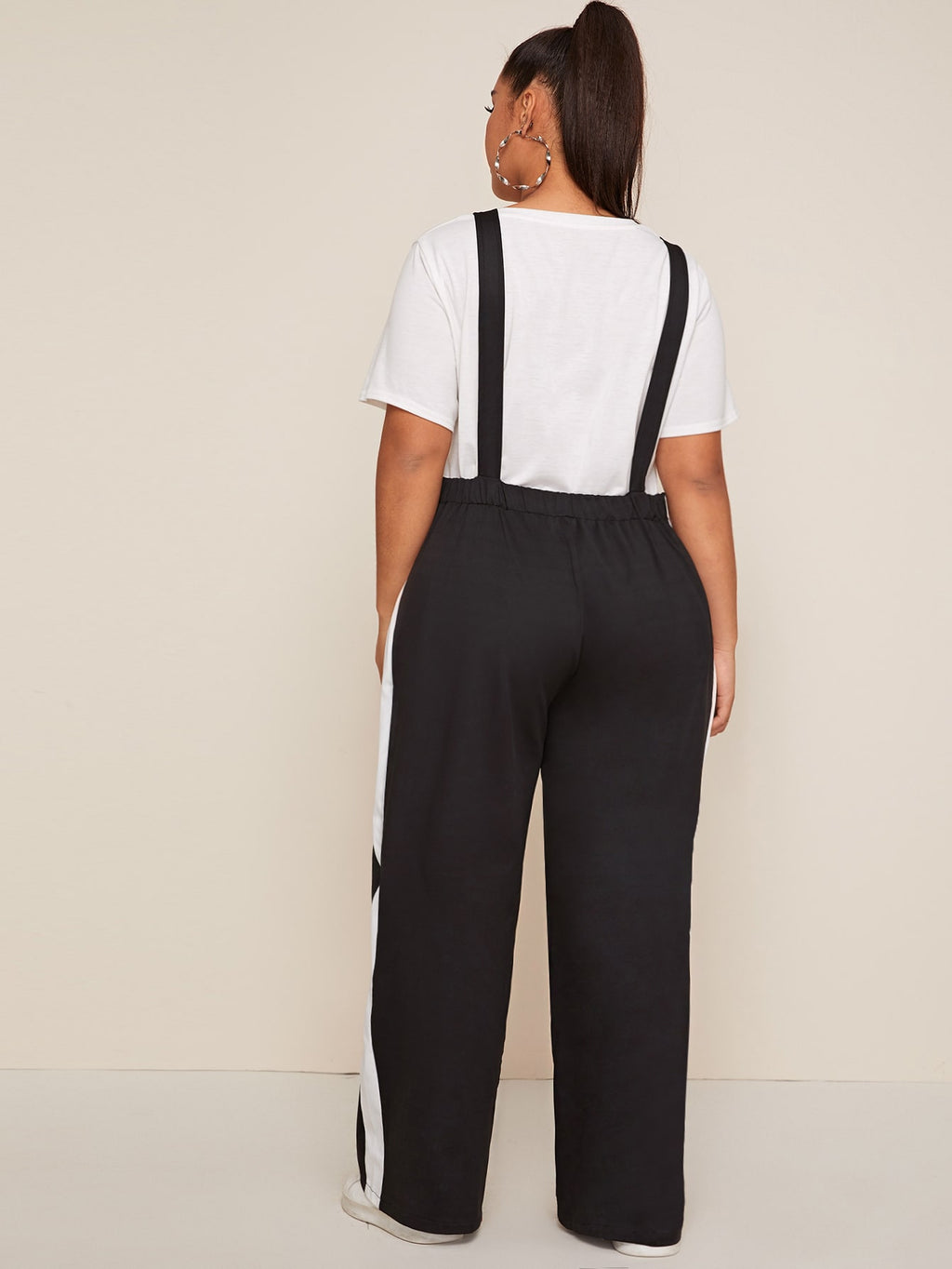 Plus Size Colorblock Button Overall Jumpsuit