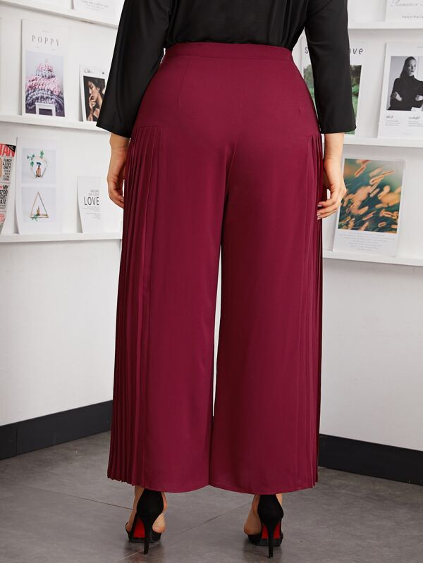 Plus Size Pleated Panel Wide Leg Pants Without Belt