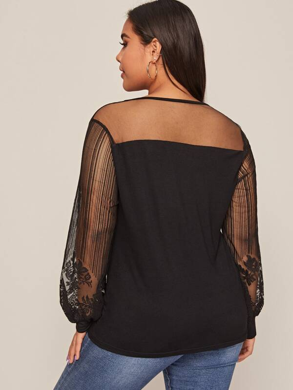 Plus Size Lace Panel Bishop Sleeve Top
