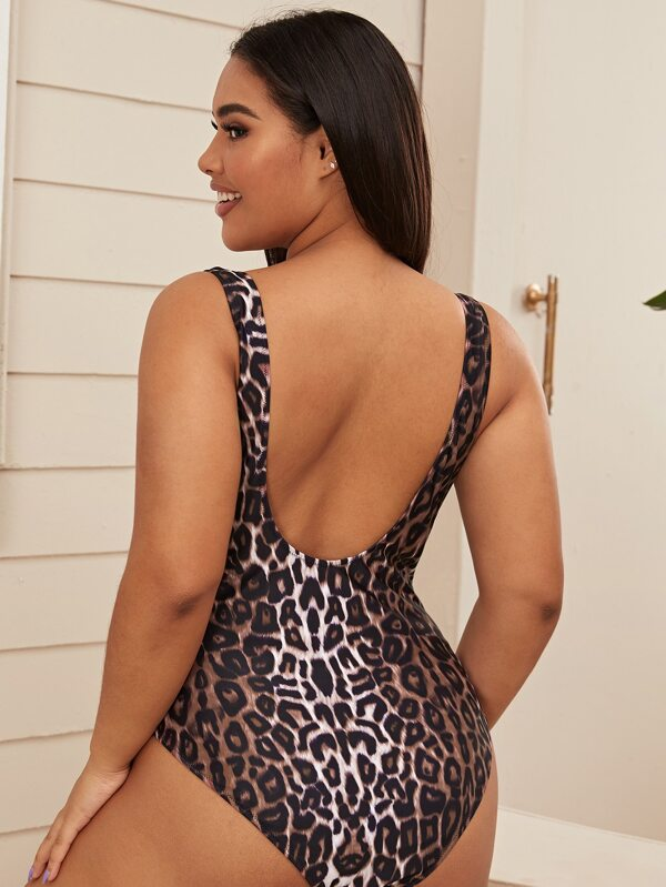 Plus Size Leopard One Piece Swimwear