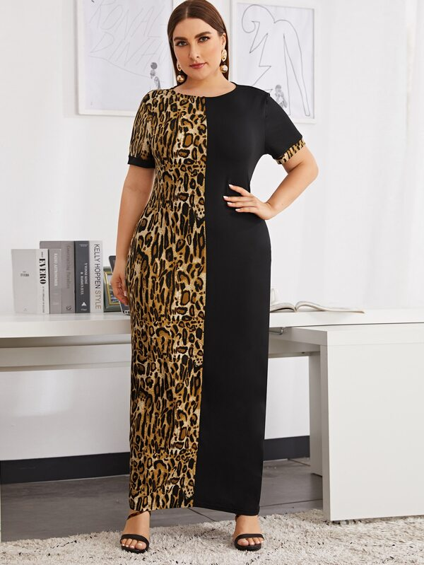 Plus Size Leopard Panel Split Dress