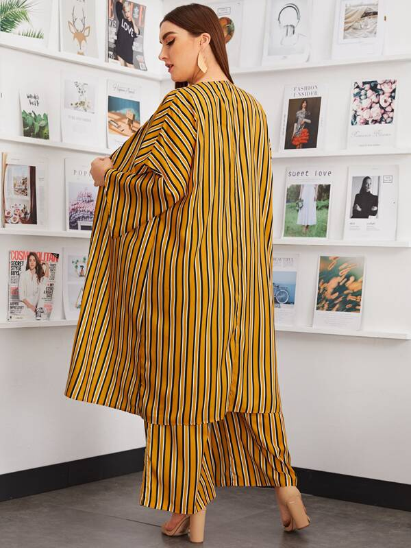 Plus Size Striped Kimono and Paperbag Waist Palazzo Pants Set