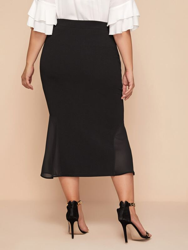 Plus Size Button Front Split Hem Mermaid Skirt