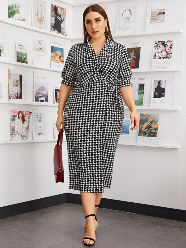 Plus Size Shawl Collar Knot Side Houndstooth Dress