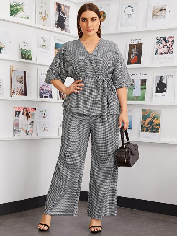 Plus Size Self Belted Wrap Houndstooth Top and Pants Set