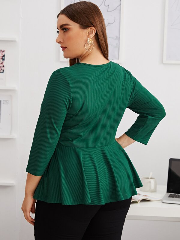 Plus Size Button Front Rib-knit Peplum Top