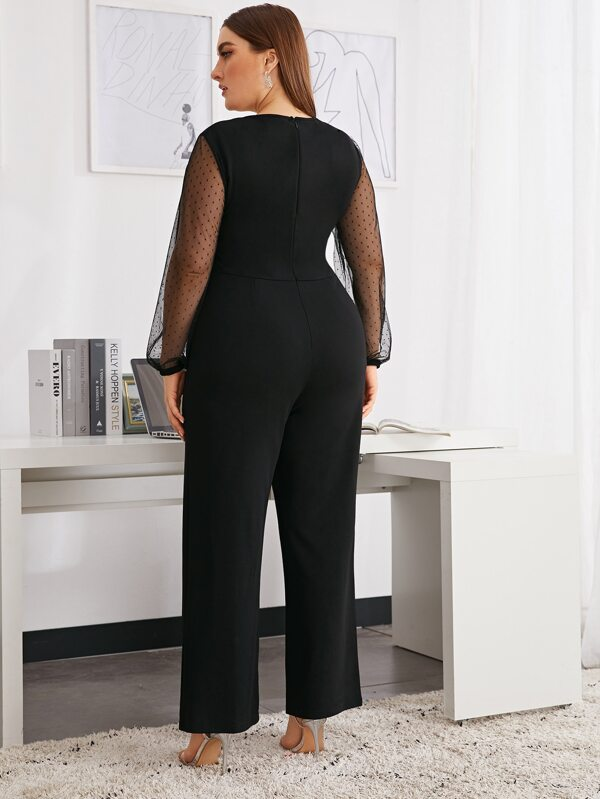 Plus Size Twist Front Dobby Mesh Sleeve Jumpsuit Without Belt