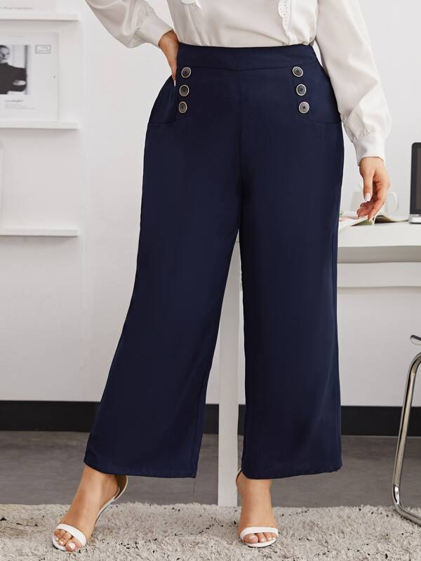 Plus Size Double Breasted Wide Leg Pants
