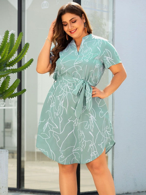 Plus Size Graphic Pattern Curved Hem Belted Dress