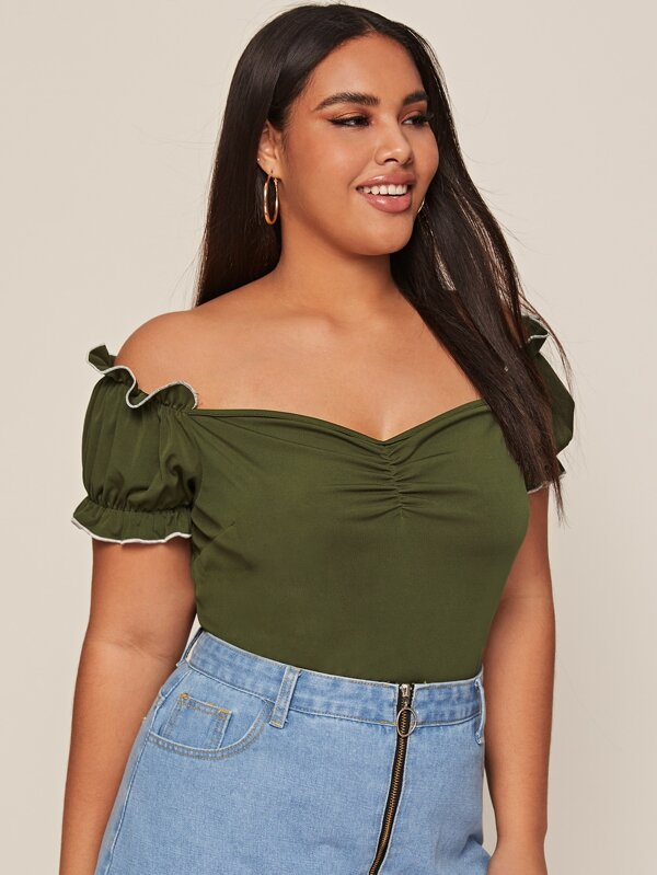 Plus Size Off Shoulder Sweetheart Frilled Top