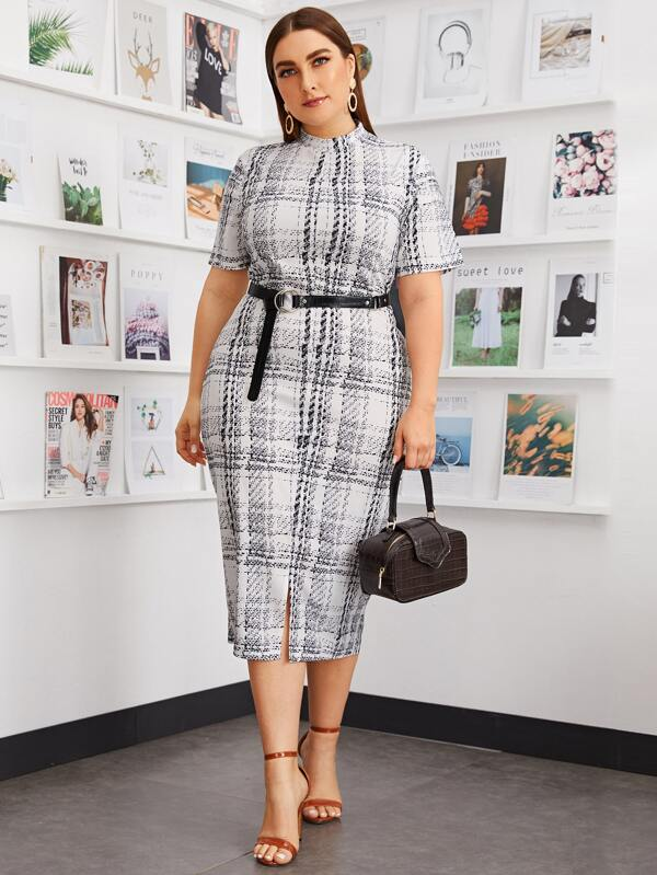 Plus Size Mock-neck Plaid Pencil Dress Without Belt