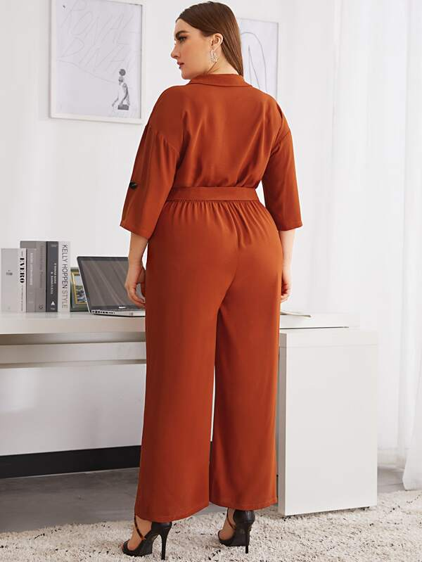 Plus Roll Tab Sleeve Flap Pocket Belted Jumpsuit