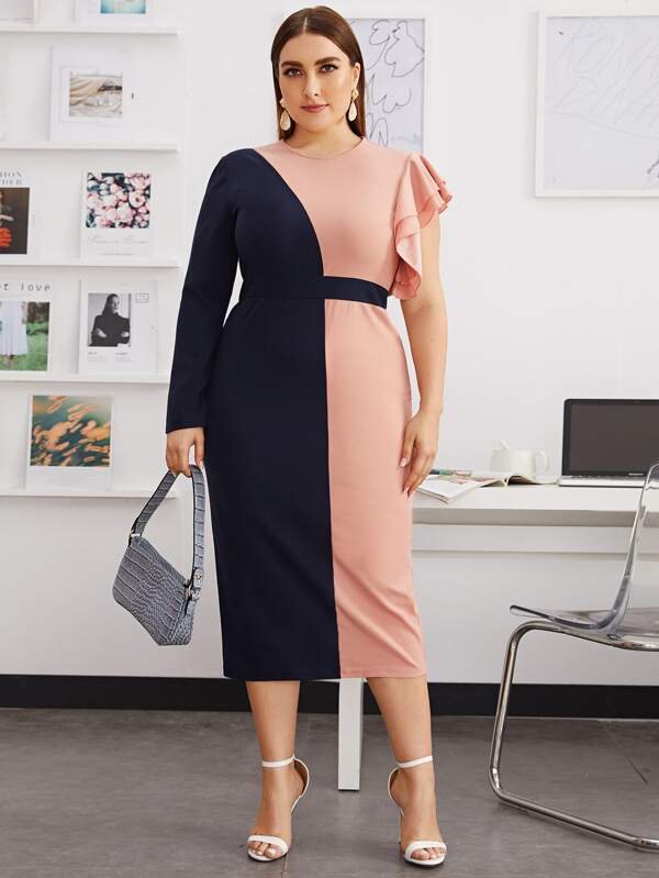 Plus Size Two Tone Asymmetrical Sleeve Split Hem Dress