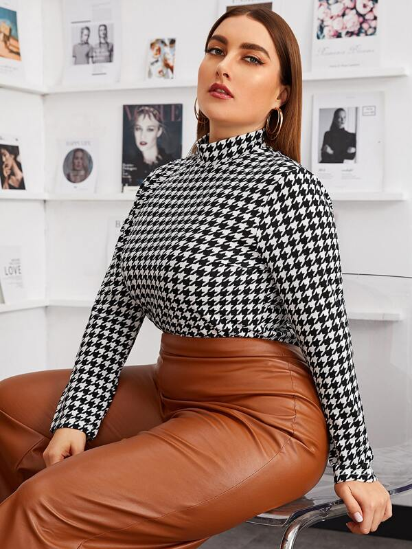Plus Size Mock-neck Houndstooth Fitted Top