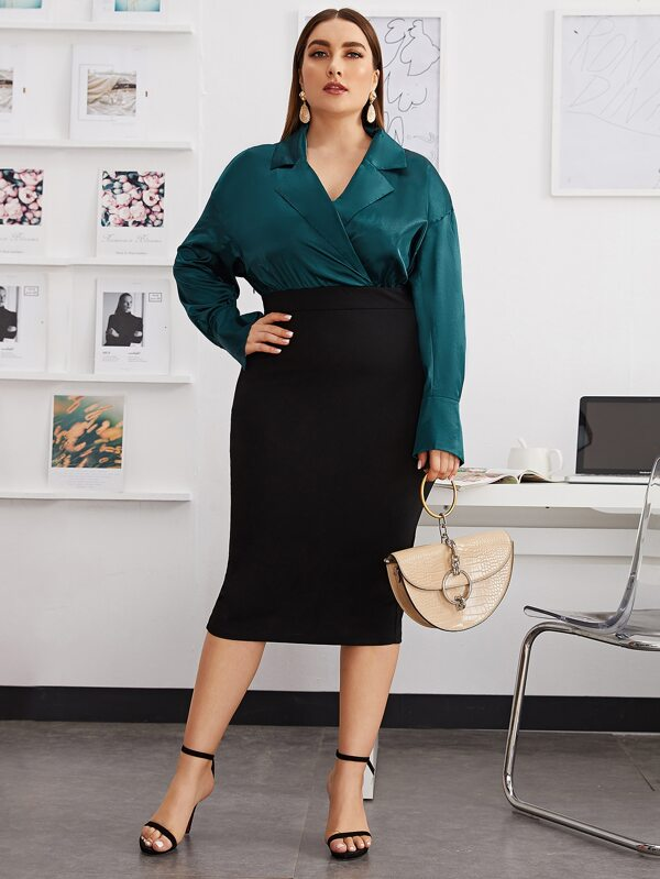 Plus Size Lapel Collar Split Hem Combo Pencil Dress