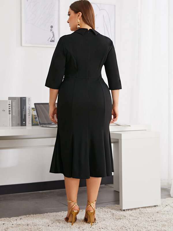 Plus Size Shawl Collar Embroidered Applique Fishtail Hem Dress