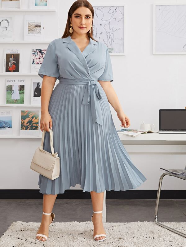 Plus Size Self Belted Pleated Shirt Dress