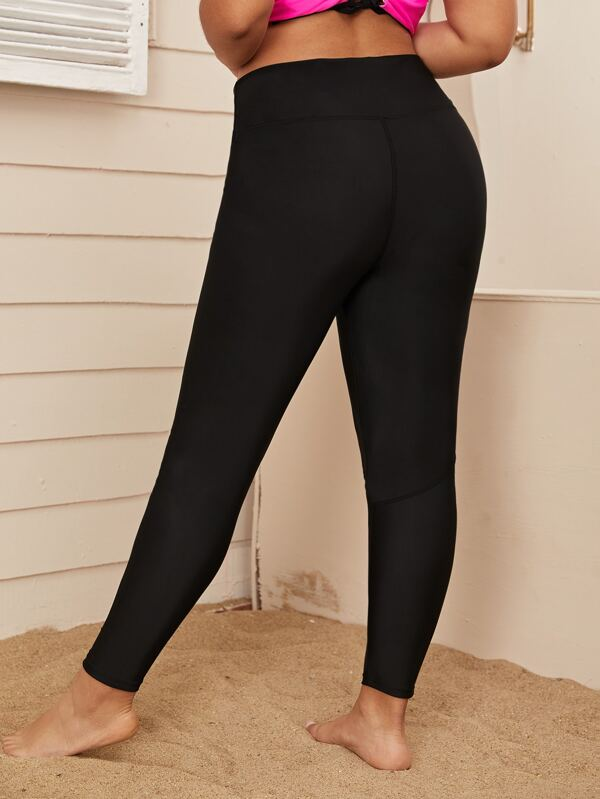 Plus Size Contrast Mesh High Waist Leggings