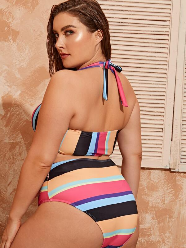 Plus SStriped Halter Top With High Waisted Bikini