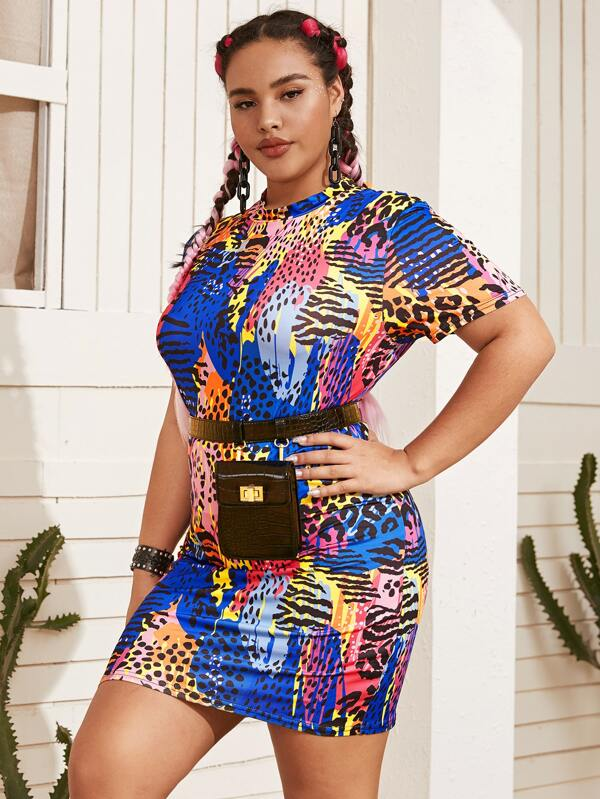 Plus Size Allover Print Body con Dress Without Fanny Pack