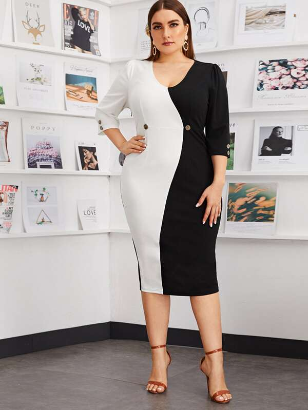 Plus Size Buttoned Split Back Colorblock Dress