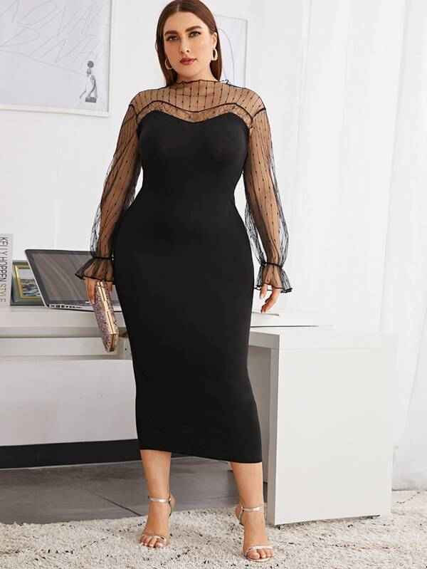 Plus Size Mesh Yoke Bell Sleeve Keyhole Back Dress