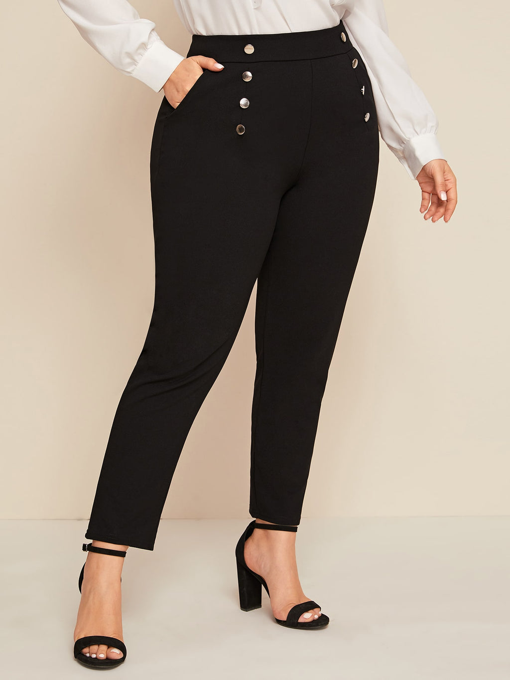 Plus Size Double Button Skinny Pants