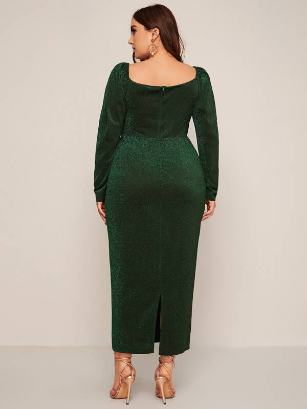 Plus Size Sweetheart Neck Split Glitter Dress