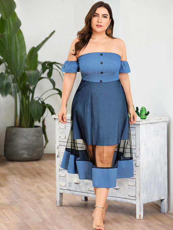 Plus Size Button Front Off The Shoulder Contrast Mesh Denim Dress