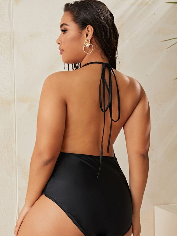 Plus Size Cut-out Front One Piece Swimsuit