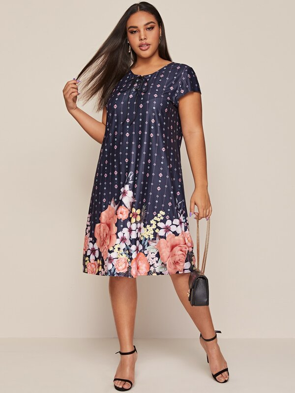 Plus Size Lace Up Neck Floral Tunic Dress