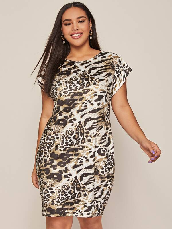 Plus Leopard Cap Sleeve Midi Tee Dress