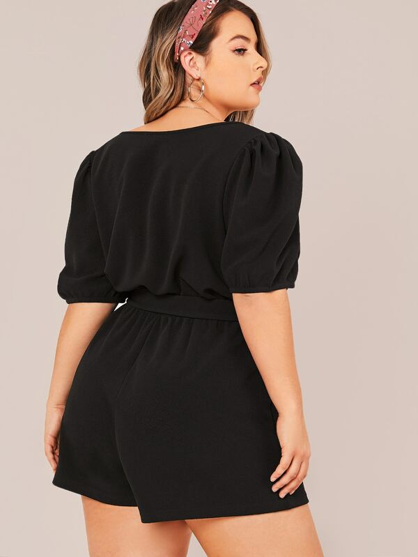 Plus Size Surplice Neck Puff Sleeve Self Belted Romper
