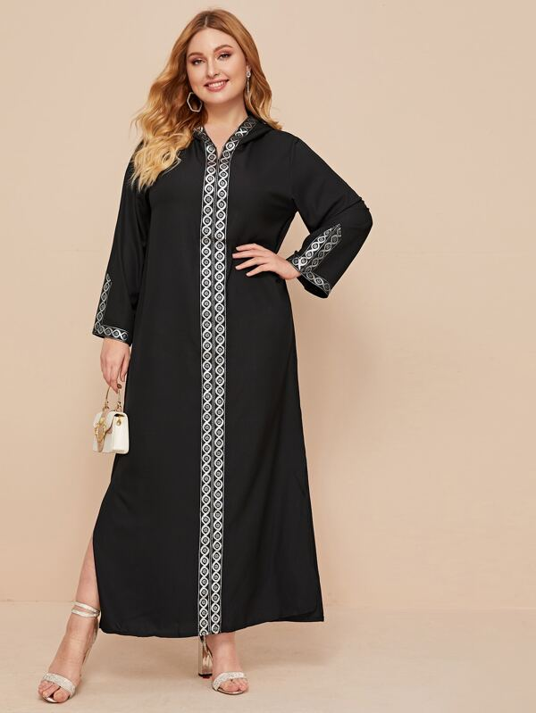 Plus Size Geo Print Side Split Hooded Dress
