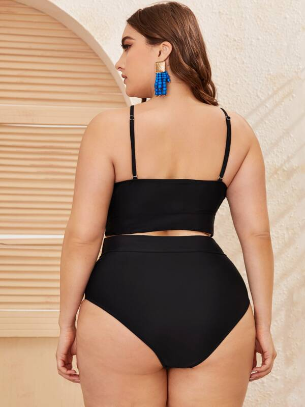 Plus Size Contrast Mesh Top With High Waisted Bikini