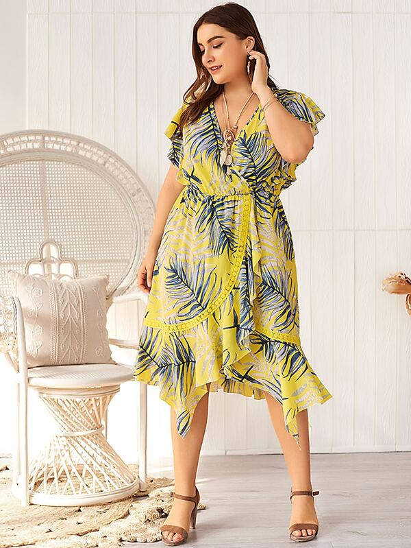 Plus Size Tropical Print Ruffle Wrap Hem A-line Dress