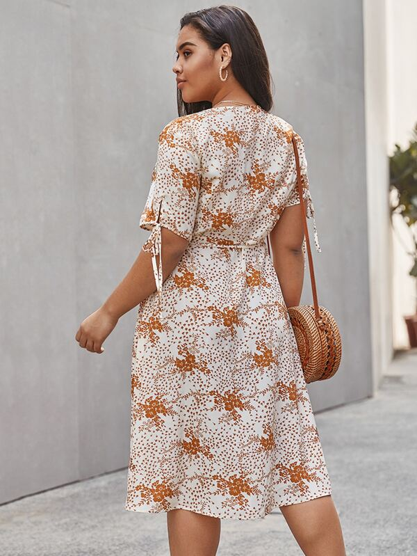 Plus Size Floral Knot Cuff Wrap Dress