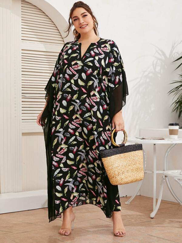 Plus Size Notched Neck Contrast Mesh Feather Print Maxi Dress