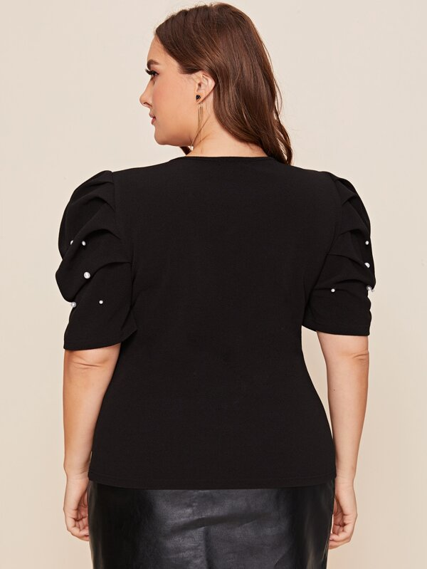 Plus Size Puff Sleeve Pearls Beaded Top