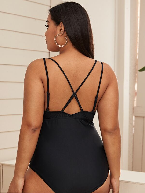 Plus Size Criss Cross Detail One Piece Swimsuit