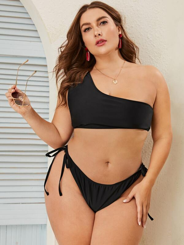 Plus Size One Shoulder Top With Tie Side Bikini