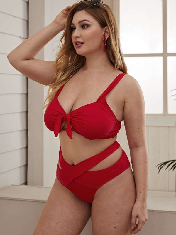 Plus Size Tie Front Top With Wrap Bikini Set