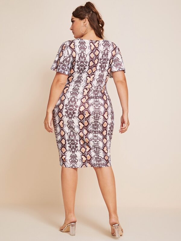 Plus Size Snakeskin Print Twist Front Dress