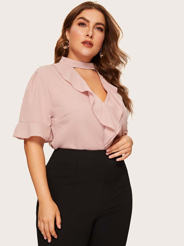 Plus Size Choker Neck Ruffle Blouse