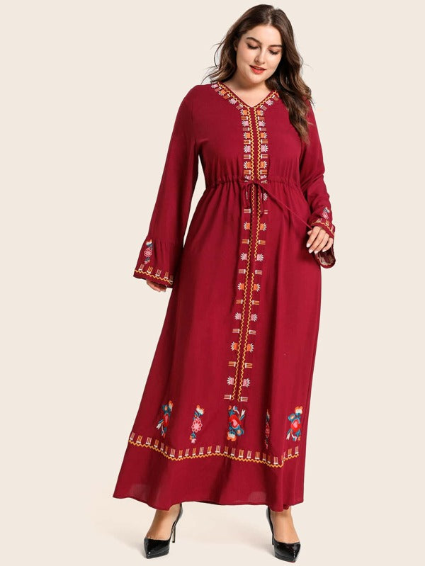 Plus Size Tribal Embroidery Tie Front A-line Dress