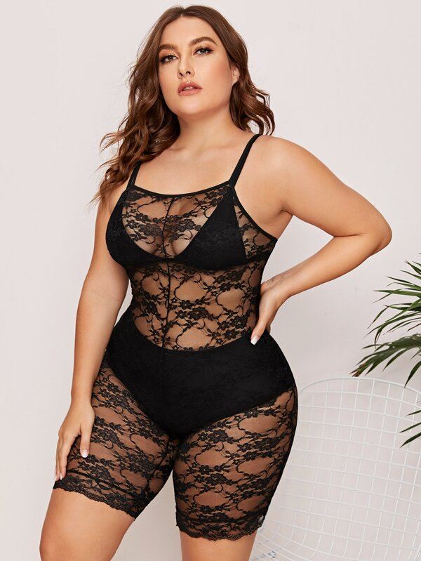 Plus Size Floral Lace Sheer Romper Bodysuit